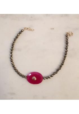 Bracelet sur pyrite Arizona - Onyx rose