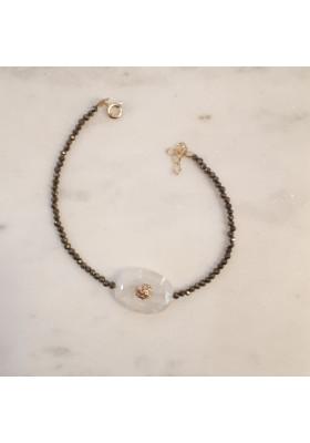 Bracelet sur pyrite Arizona - Pierre de lune blanche