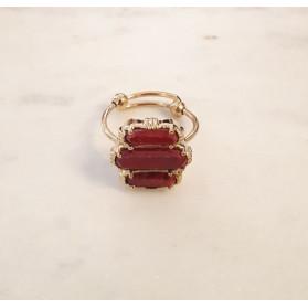 Bague 3 pierres - Racine de rubis - petit modèle