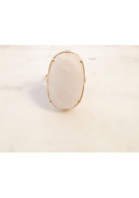 Bague ovale - Labradorite blanche