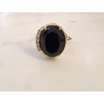 Bague Zircon - Onyx noir