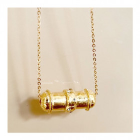 Collier grand tube strass