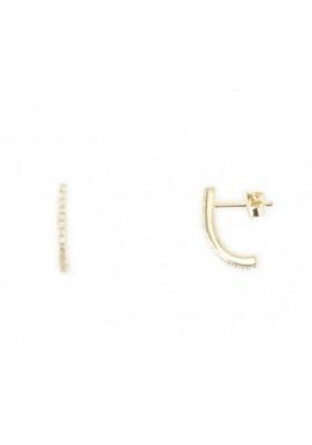 Boucles d'oreilles quart d'ovale zircon