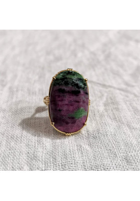 Bague ovale - Rubis zoisite