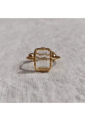 Bague rectangulaire - Cristal de roche - petit modèle