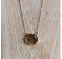 Collier pierre sertie ovale - quartz fumé