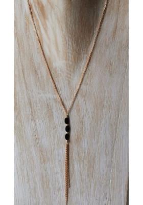 Collier 3 pierres - Spinelle noir