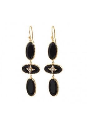 Boucles d'oreilles Thelma Onyx noir XL