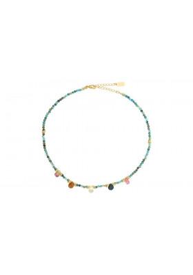 Collier Choker Dayra - Turquoise africaine / Tourmaline