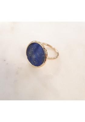 Bague ronde - lapis lazuli - plaqué or