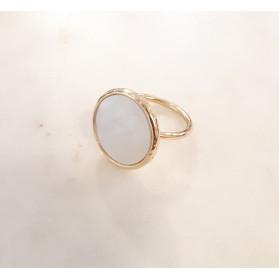 Bague ronde - nacre - plaqué or
