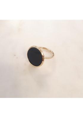 Bague ronde - onyx noir - plaqué or