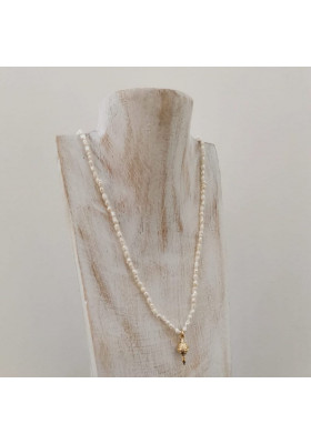Collier Clarisse perle d eau douce et toupie