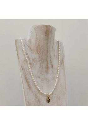 Collier Clarisse perle d eau douce et vierge