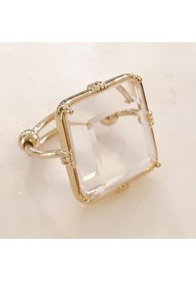 Bague carrée - Cristal de roche