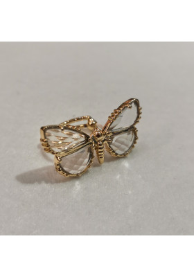 Bague Papillon Cristal de roche Au fil de Lo