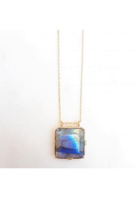Collier pendentif carré pierre sertie - Labradorite
