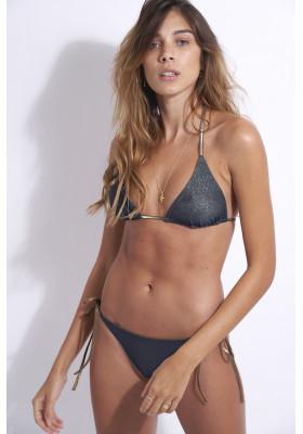 Haut de maillot de bain triangle réversible Kate Navy Lurex par beliza